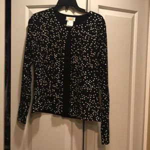 Black sequined button down sweater